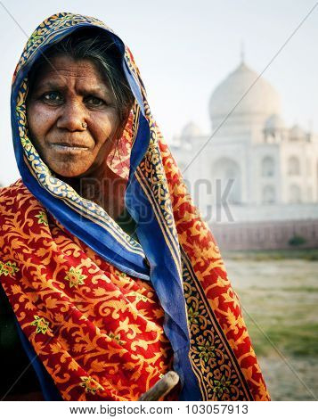 Indigenous Indian Woman And Taj Mahal Concept