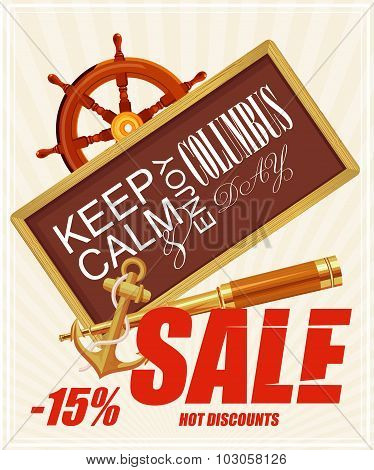 Columbus day poster. Sale