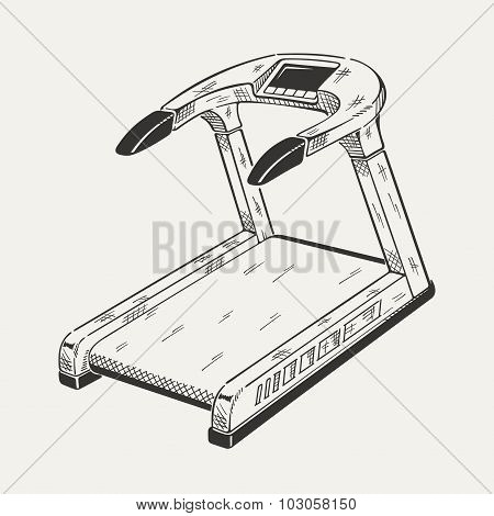 Illustration of treadmill. Sports equipment, fitness simulator.