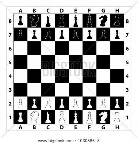 Chessboard monochrome illustration