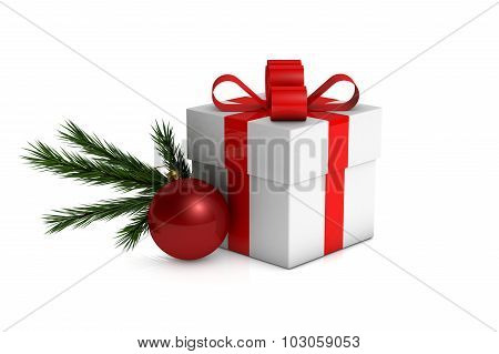 Christmas Gift Box With Decorations And Branch Fir Tree