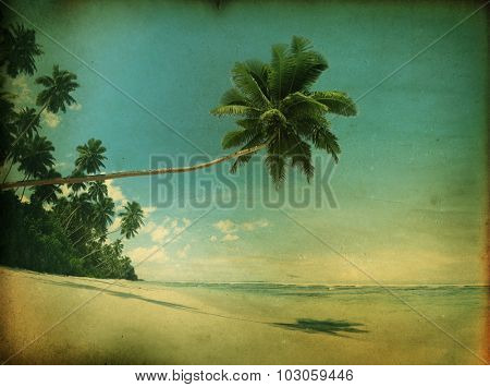 Vintage Style Tropical Paradise Beach Summer Travel Concept