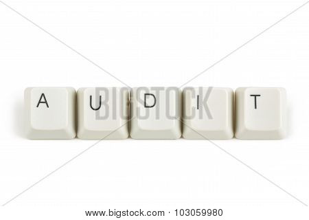 Audit From Scattered Keyboard Keys On White