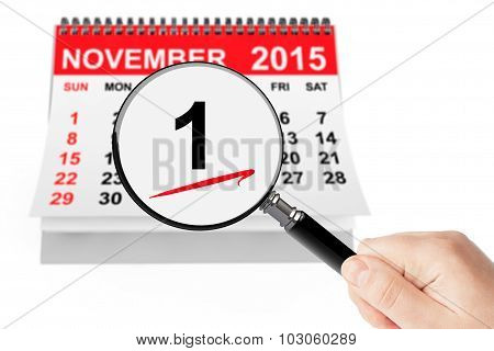 All Saints Day Concept. 1 November 2015 Calendar With Magnifier