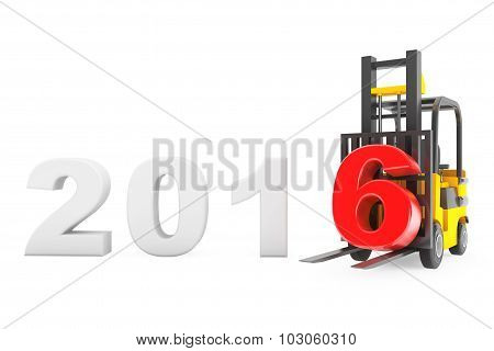 Forklift Truck With 2016 New Year Sign