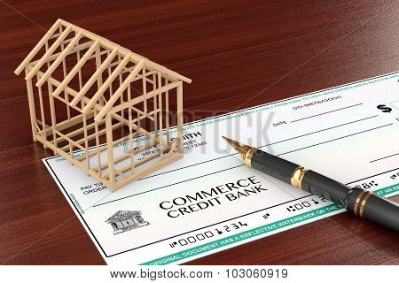 Bank Check With House Frame And Pen