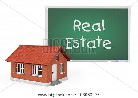 3D House With Real Estate Sign Blackboard