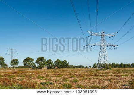 High Voltage Pylons With Power Lines