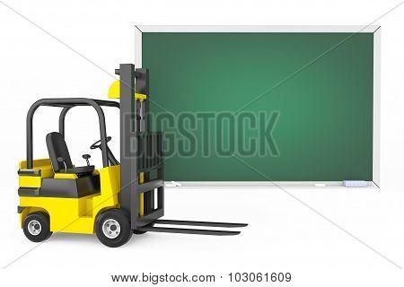 Forklift Truck With Blank Blackboard
