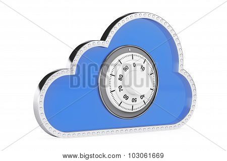 Internet Security Concept. 3D Cloud With Padlock
