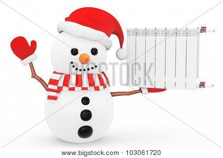 Snowman With Heating Radiator