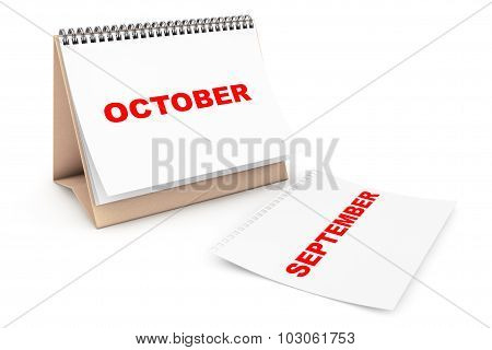 Folding Calendar With October Month Page