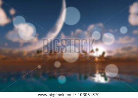 Big Moon In Clouds