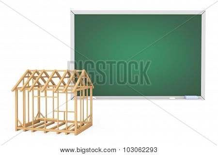 House Frame With Blank Blackboard