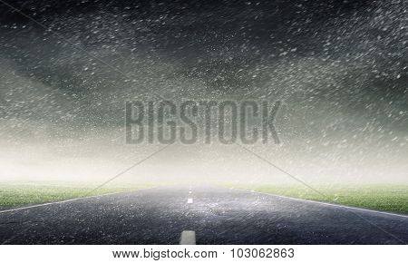 Natural landscape of road in rainy stormy weather