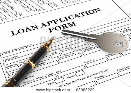 Loan Application Form With House Key And Pen