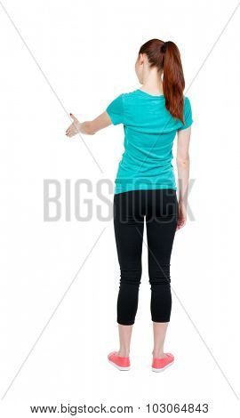 back view of woman shake hands. Rear view people collection. backside view of person. Isolated over white background. Sports girl stretches his right hand in greeting.