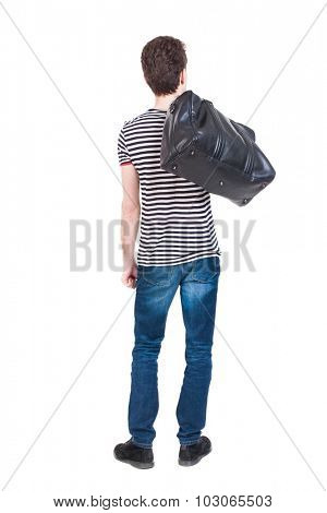 Back view of man in jeans with a bag on his shoulder. Standing young guy. Rear view people collection.  backside view of person.  Isolated over white background.