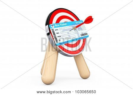 Bus Ticket In Center Of Archery Target