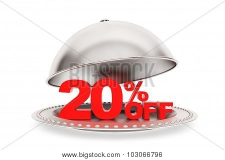 Restaurant Cloche With 20 Percent Off Sign