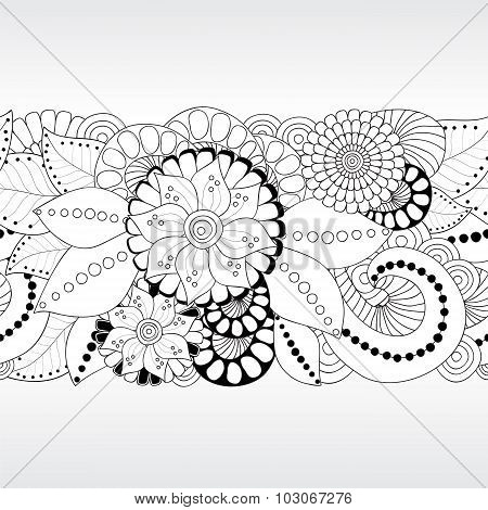 Stock Vector Floral Black And White Doodle Pattern. Border