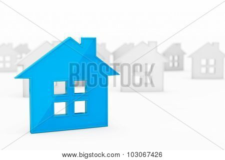 3D Blue Abstract House