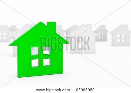 3D Green Abstract House