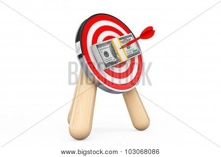 Dollar Banknotes In Center Of Archery Target