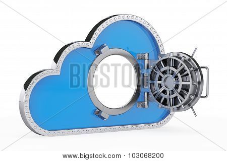 Internet Security Concept. 3D Cloud With Safe Door