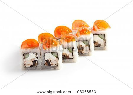 Japanese Cuisine - Sushi Roll with Cucumber, Chicken, Cream Cheese and Smoked Eel inside. Topped with Cherry Tomato