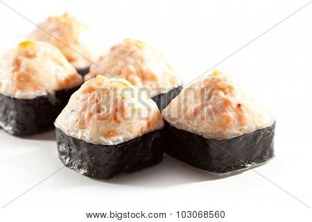 Fried Maki Sushi - Hot Roll Topped with Fried Cheese and Lettuce