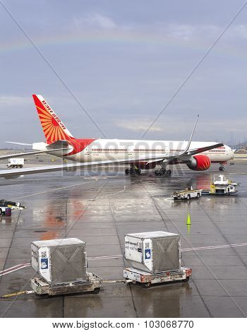 Rainbow Over Air India Airplane.
