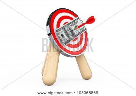 Dollar Banknote In Center Of Archery Target