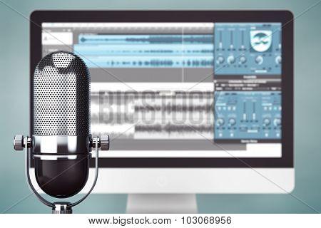 Music Recording Studio Concept. Condencer Microphone