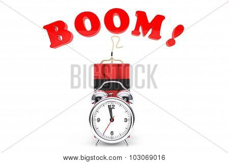 Dynamit With Alarm Clock And Boom Sign