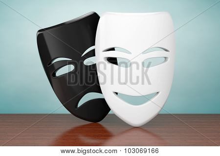 Old Style Photo. Tragicomic Theater Sad And Smile Masks