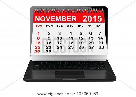 November 2015 Calendar Over Laptop Screen