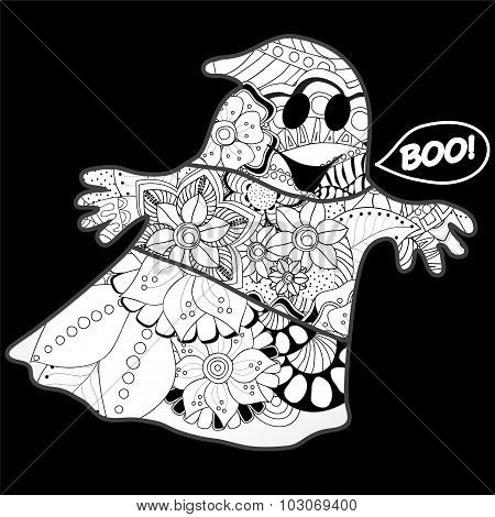 Vector Halloween Background With Ghost.