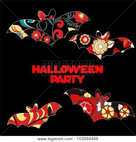 Vector Halloween Background With Isolated Bat
