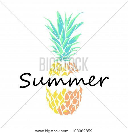 Pineapple Illustration of polygons with the word summer.