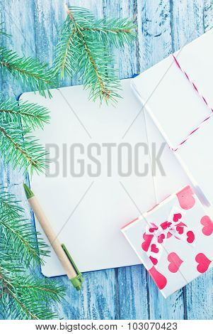 Notebook And Christmas Decoration