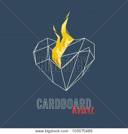 Burning heart on a gradient background. Polygons, triangles
