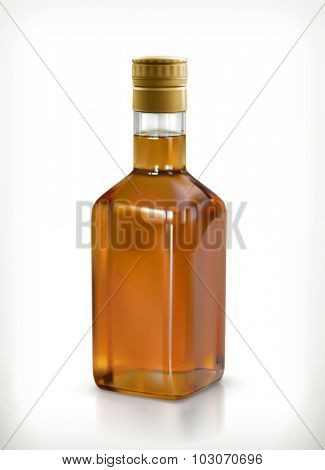 Whiskey, alcohol drink in bottle vector icon