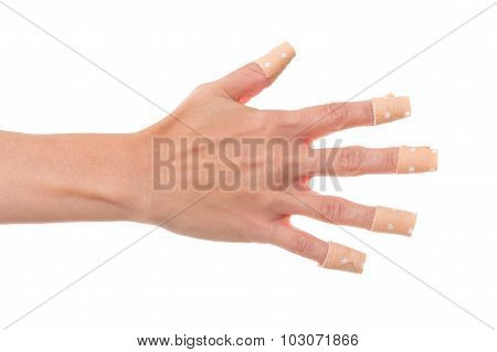 Woman´s Hand Glued A Lot Of Medical Plaster, Isolated On White, Concept Nailbiting