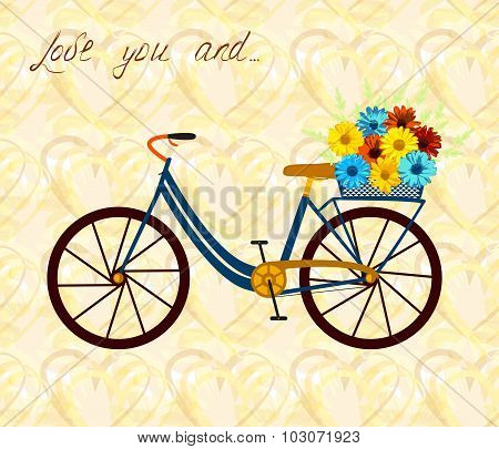 Postcard for person, who love bike and woman alike. City bicycle with flowers in basket.