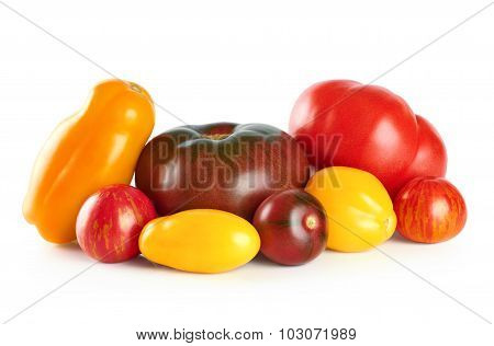 Tomatoes Isolated On White Background. Selection Grade.