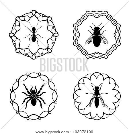 Bee and wasp hipster labels