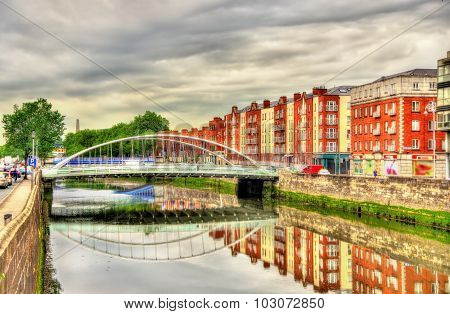 View Of James Joyce Bridge In Dublin - Ireland
