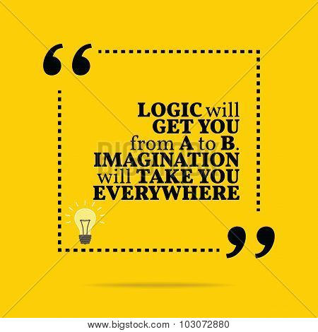 Inspirational Motivational Quote. Logic Will Get You From A To B. Imagination Will Take You Everywhe