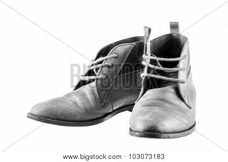 Black & White Leather Shoes With Wooden Shoe Stretchers On White Background